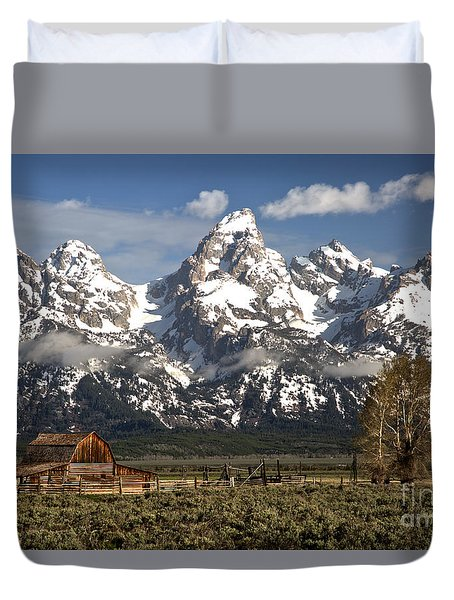 Dwarfed By The Teton Mountain Ange Duvet Cover by Adam Jewell