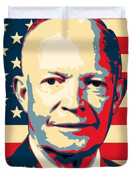Dwight D. Eisenhower Amercian Propaganda Poster Art Duvet Cover