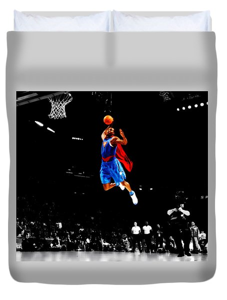 Duvet Cover featuring the digital art Dwight Howard Superman Dunk by Brian Reaves