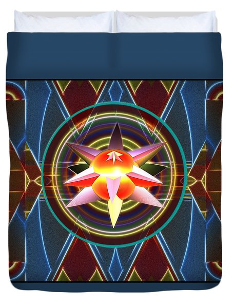 Duvet Cover featuring the digital art Dynamic Star Spinner by Mario Carini