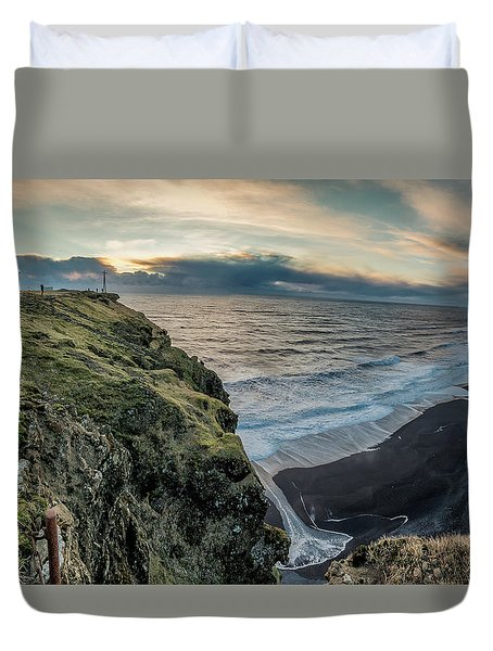 Duvet Cover featuring the photograph Dyrholaey Light House by Allen Biedrzycki