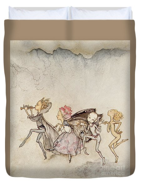 Each One, Tripping On His Toe, Will Be Here With Mop And Mow Duvet Cover by Arthur Rackham