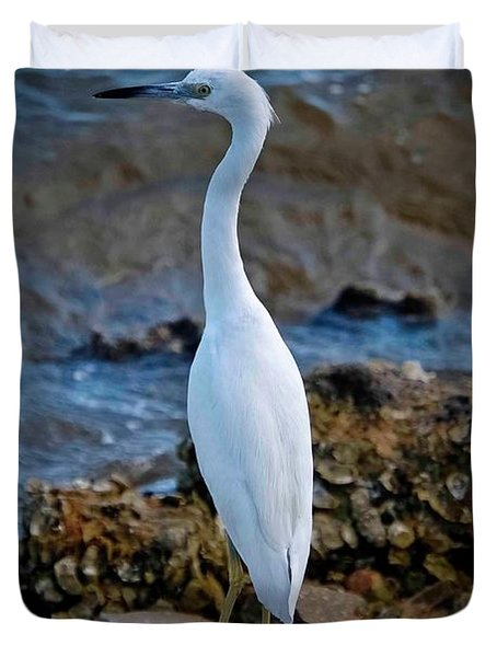 Eager Egret Duvet Cover by DigiArt Diaries by Vicky B Fuller