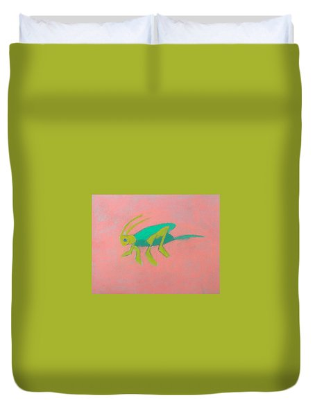 Eager Grasshopper Duvet Cover by Artists With Autism Inc