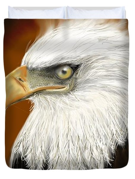 Duvet Cover featuring the digital art Eagle American by Darren Cannell