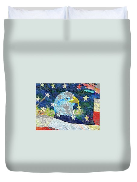 Duvet Cover featuring the digital art Eagle Americana by David Lee Thompson