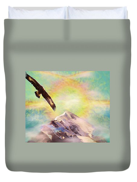 Eagle And Fire Rainbow Over Mt Tetnuldi Caucasus II Duvet Cover by Anastasia Savage Ealy