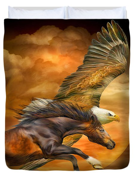 Eagle And Horse - Spirits Of The Wind Duvet Cover