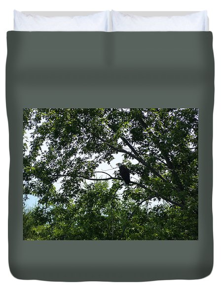 Duvet Cover featuring the photograph Eagle At Codorus by Donald C Morgan