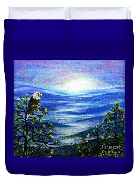 Duvet Cover featuring the pastel Eagle Blue Ridge Mountain Sunrise by Patricia L Davidson