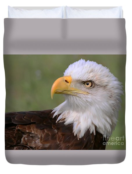 Duvet Cover featuring the photograph Eagle Eye by Myrna Bradshaw