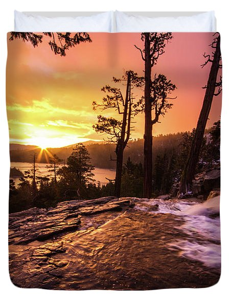 Eagle Falls Sunrise Duvet Cover
