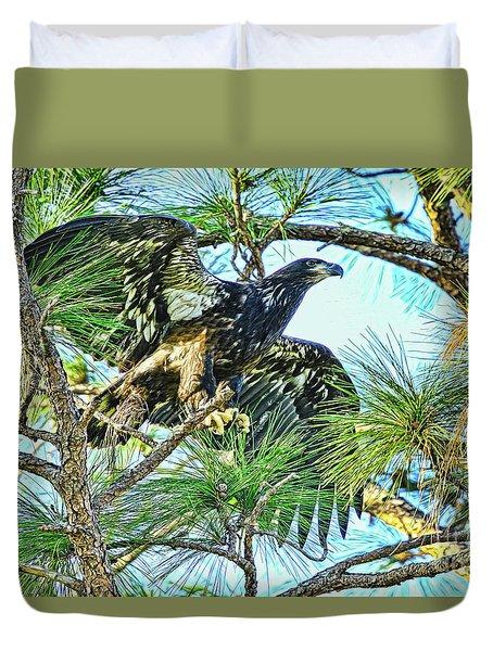 Duvet Cover featuring the photograph Eagle Fledgling 2017 by Deborah Benoit