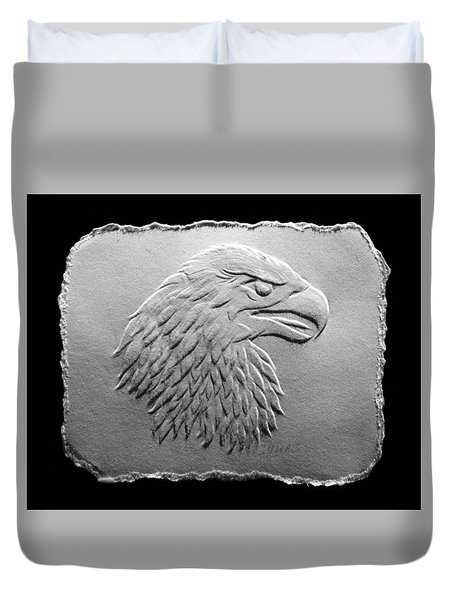 Eagle Head Relief Drawing Duvet Cover