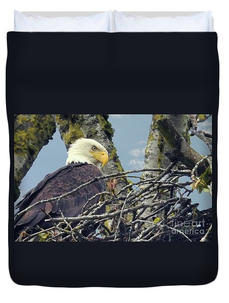 Duvet Cover featuring the photograph Eagle In Nest by Rod Wiens