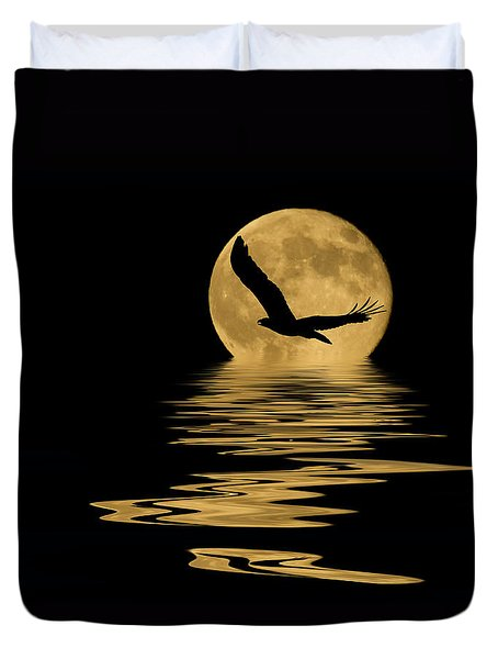 Eagle In The Moonlight Duvet Cover