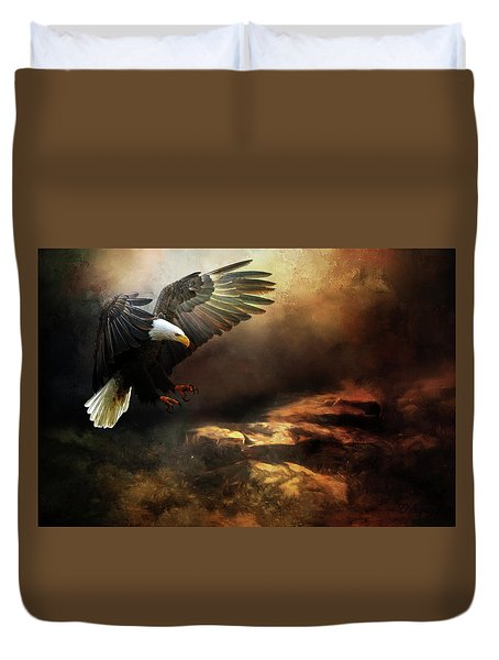 Eagle Is Landing Duvet Cover