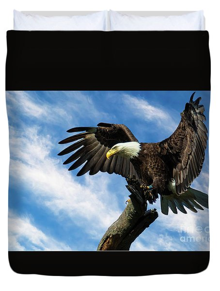 Eagle Landing On A Branch Duvet Cover