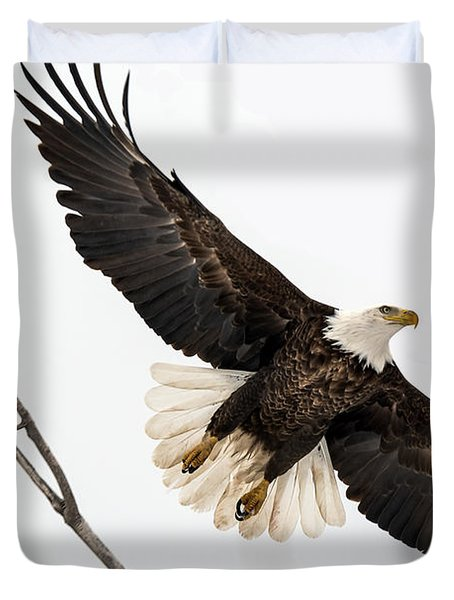 Duvet Cover featuring the photograph Eagle Launch by Stephen  Johnson