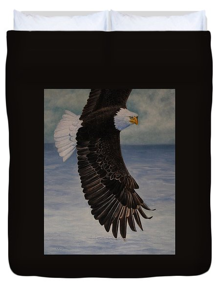 Eagle - Low Pass Turn Duvet Cover by Roena King