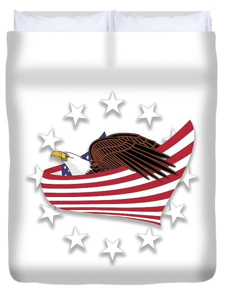 Duvet Cover featuring the digital art Eagle Of The Free V1 by Bruce Stanfield