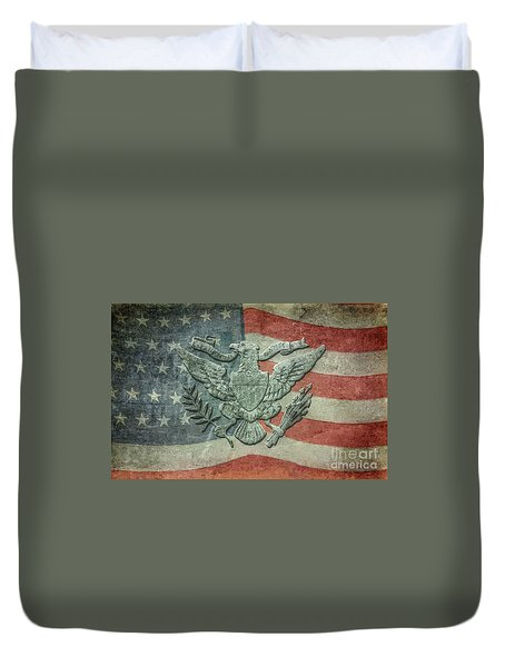 Duvet Cover featuring the digital art Eagle On American Flag by Randy Steele