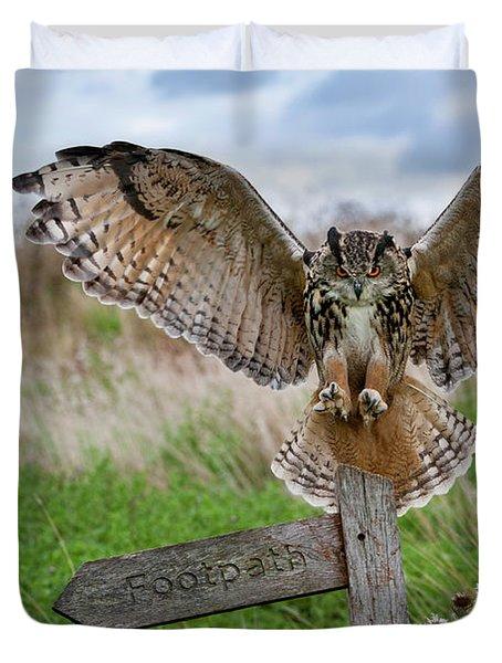 Eagle Owl On Signpost Duvet Cover
