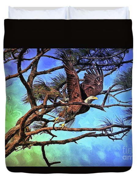 Duvet Cover featuring the painting Eagle Series 2 by Deborah Benoit