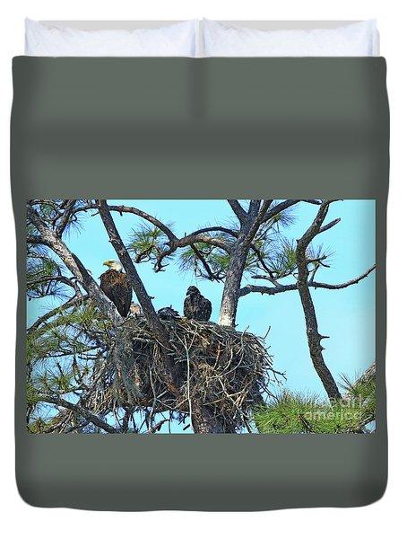 Duvet Cover featuring the photograph Eagle Series Baby by Deborah Benoit