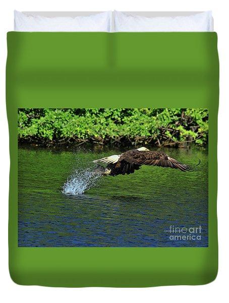 Duvet Cover featuring the photograph Eagle Series Fish Catch by Deborah Benoit