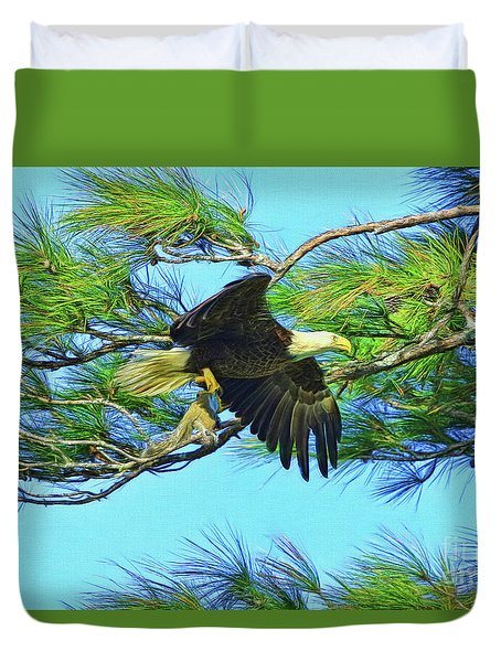 Duvet Cover featuring the painting Eagle Series Food by Deborah Benoit