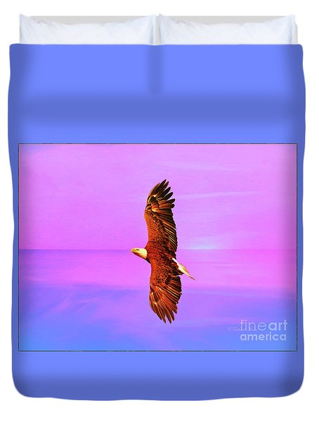 Duvet Cover featuring the painting Eagle Series Painterly by Deborah Benoit