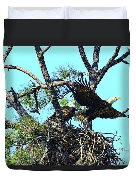 Duvet Cover featuring the photograph Eagle Series The Nest by Deborah Benoit