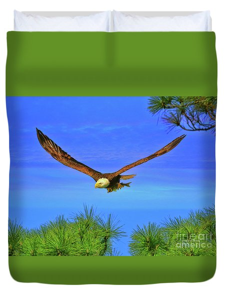 Duvet Cover featuring the photograph Eagle Series Through The Trees by Deborah Benoit
