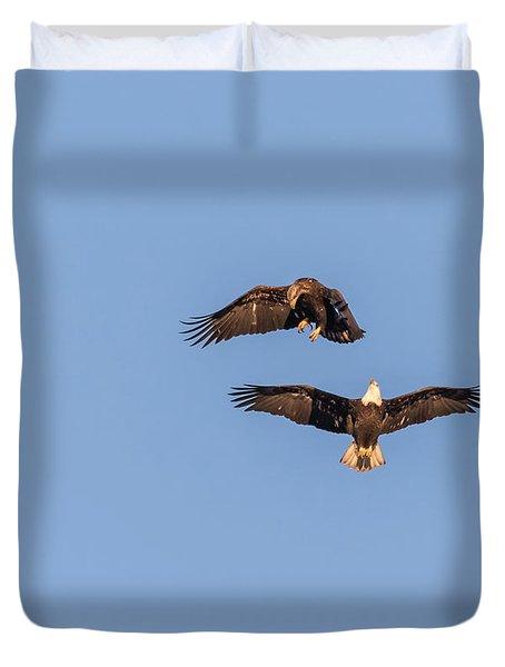Eagles Dancing In Air Duvet Cover
