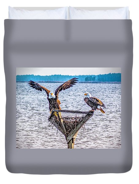 Duvet Cover featuring the photograph Eagles In Blackwater Refuge by Nick Zelinsky