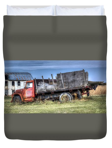 Duvet Cover featuring the photograph Earl Latsha Lumber Company - Version 1 by Shelley Neff