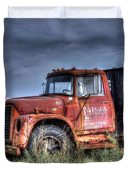 Duvet Cover featuring the photograph Earl Latsha Lumber Company Version 2  by Shelley Neff