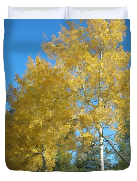 Duvet Cover featuring the photograph Early Autumn Aspens by Gary Baird