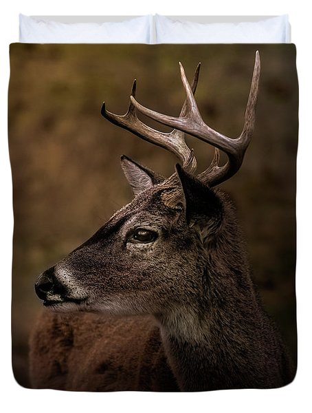 Duvet Cover featuring the photograph Early Buck by Robert Frederick