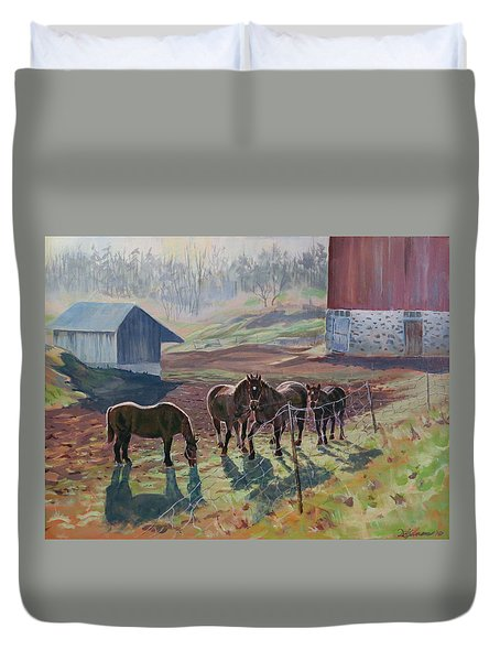 Early December At The Farm Duvet Cover