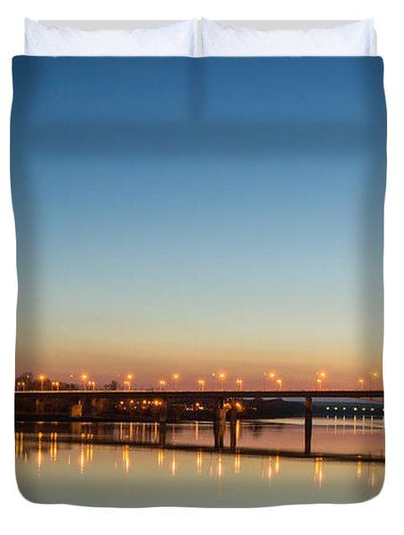 Early Evening Bridge At Sunset Duvet Cover