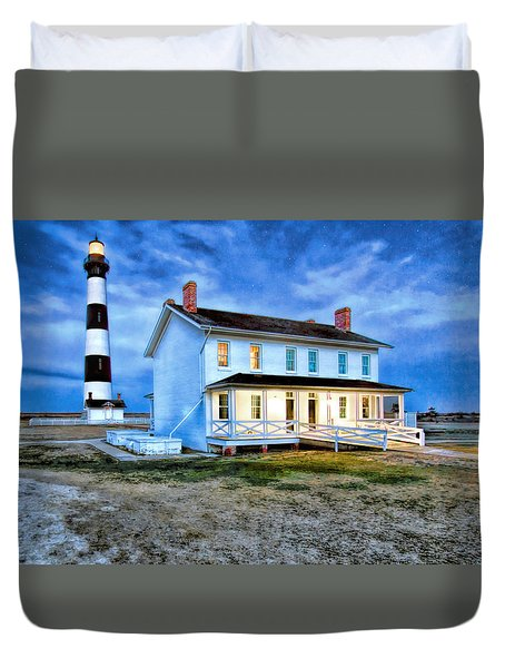 Early Evening Lighthouse Duvet Cover by Marion Johnson