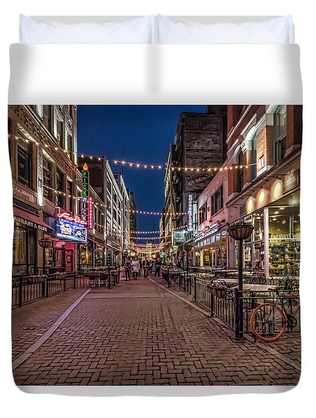 Duvet Cover featuring the photograph Early Evening On E. 4th by Brent Durken