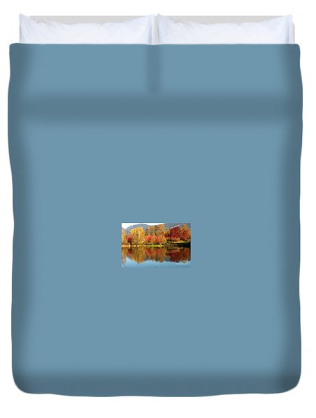 Duvet Cover featuring the painting Early Fall At Lafarge Lake by Rod Jellison
