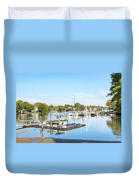 Duvet Cover featuring the photograph Early Fall Day On Spa Creek by Charles Kraus