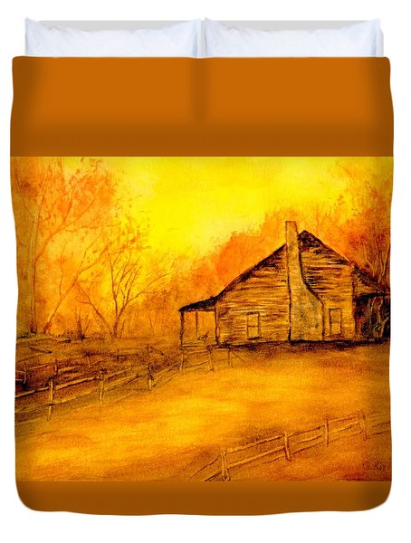 Duvet Cover featuring the painting Early Kentucky Times by Gail Kirtz