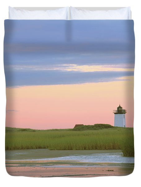 Duvet Cover featuring the photograph Early Light At Wood End Light by Roupen  Baker