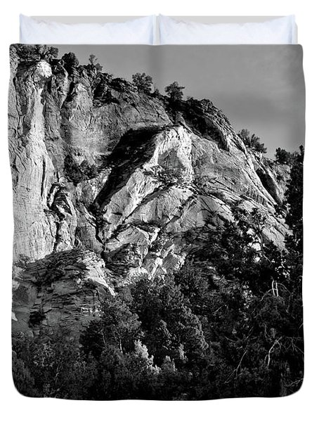 Early Morining Zion B-w Duvet Cover by Christopher Holmes