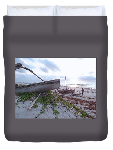 early morning African fisherman and wooden dhows Duvet Cover